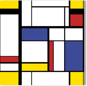 Wall canvas in Mondrian style