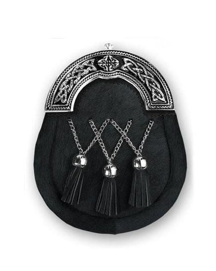 Black Calfskin Full Dress- Black Enamel - Crossed Tassels
