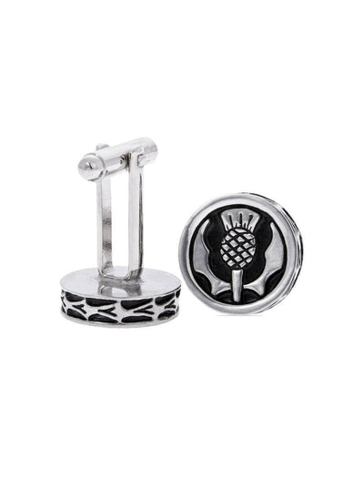 Thistle Pewter Enamel Cufflinks - Chrome Finish