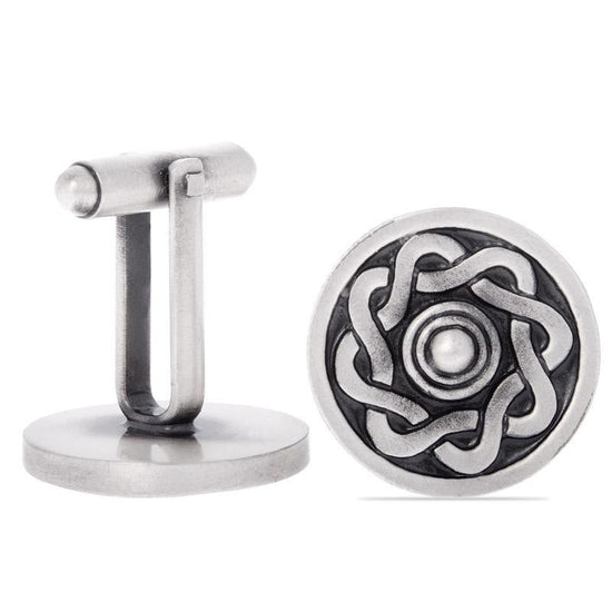 Targe Shield Pewter Cufflinks - Antique