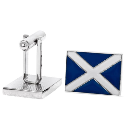 Scotland Flag / Saltire Cufflinks  Blue and White