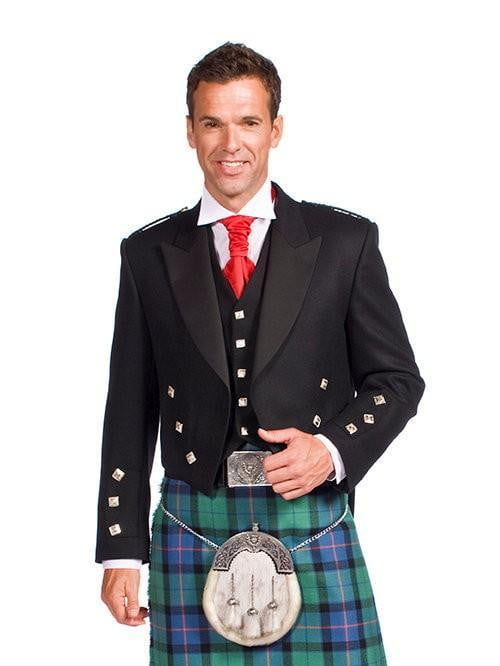 Black Prince Charlie Jacket with 5 Button Vest - Special Order