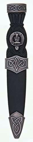 Clan Crest Celtic Sgian Dubh, Plain Top - Chrome/Antique Finish - Made to Order