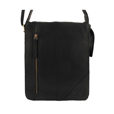 New Arnicus Leather Small Cross Body Messenger Bag - Black