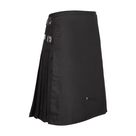 Men's Kilt, 8 Yard Polyviscose - Plain Black