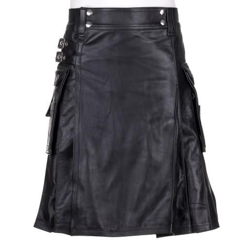 Mens Black 100% Leather Kilt - Instock