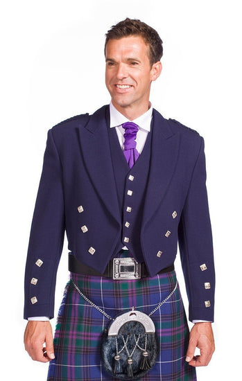 Navy Prince Charlie Jacket with 5 Button Vest - Made to Order