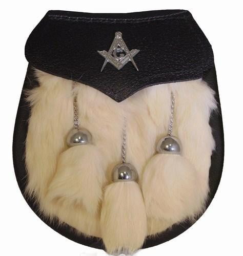 Semi Dress Sporran - White Rabbit Fur - Masonic Emblem