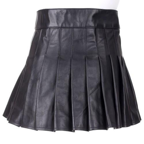 Ladies Black 100% Leather Mini Kilt - Instock