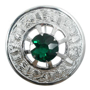 Thistle Design and Green Stone Brooch - Chrome Finish