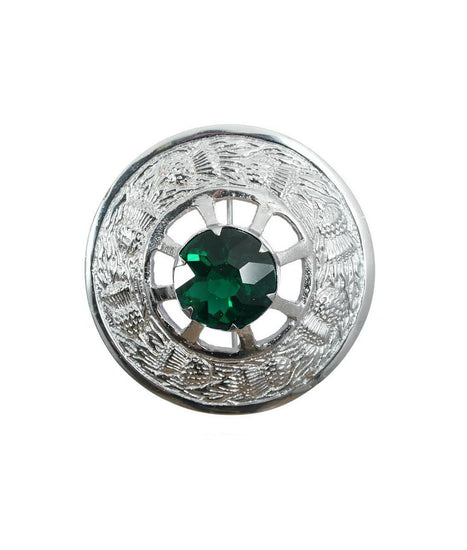 Miniature Thistle Design and Green Stone Brooch - Chrome Finish