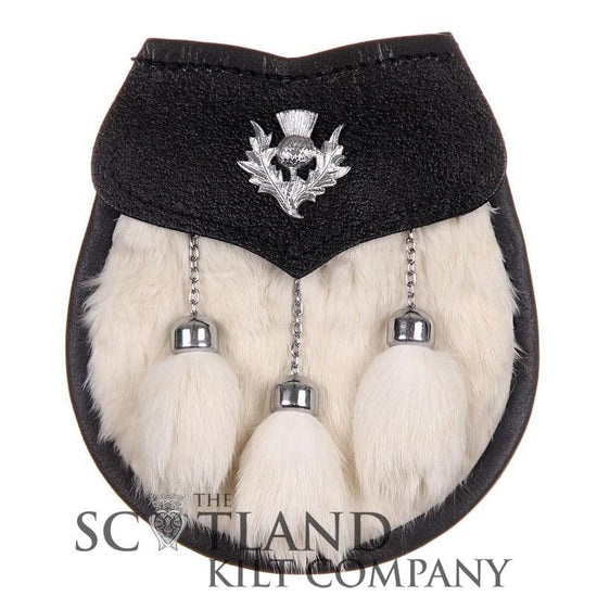 Semi Dress Sporran - White Rabbit Fur - Thistle Emblem