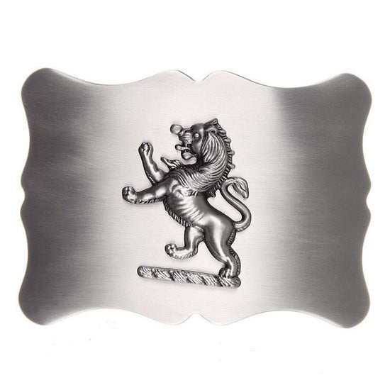 Lion Rampant Scalloped Belt Buckle - Antique Finish