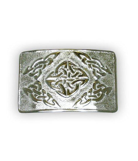 Celtic Square Belt Buckle, Chrome Finish