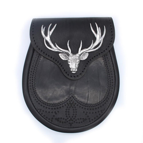 Black Stag Head Leather Sporran
