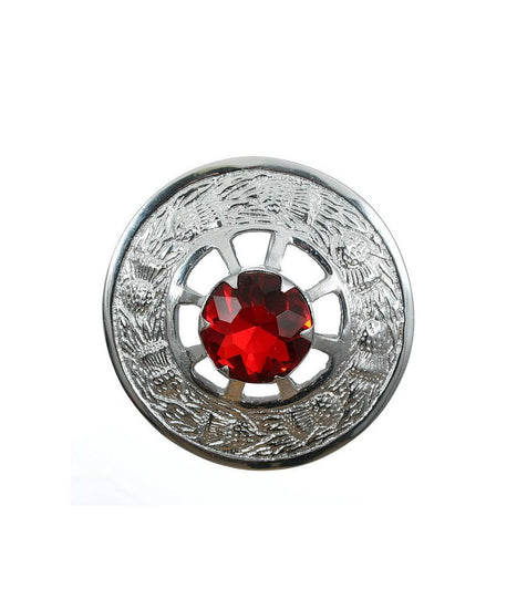 Thistle Design and Red Stone Brooch - Chrome Finish