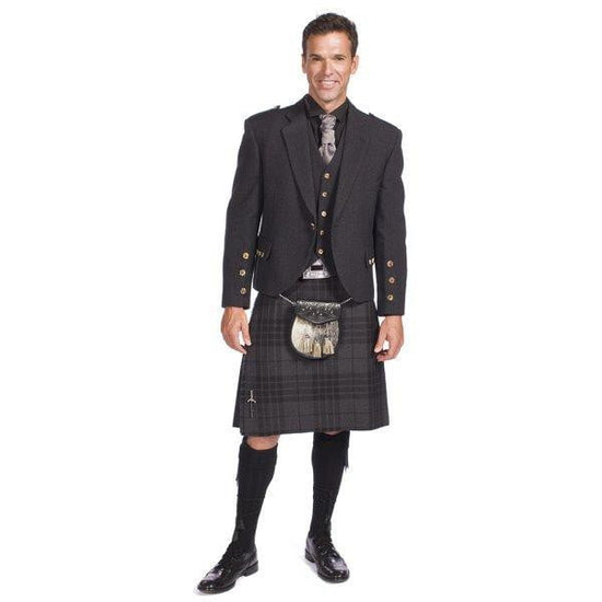 Charcoal Tweed Crail Jacket Kilt Outfit