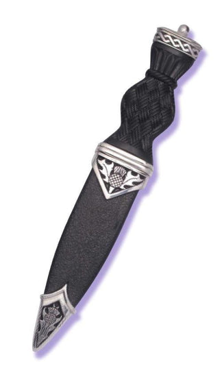 Polished Pewter Thistle Pip Top Sgian Dubh