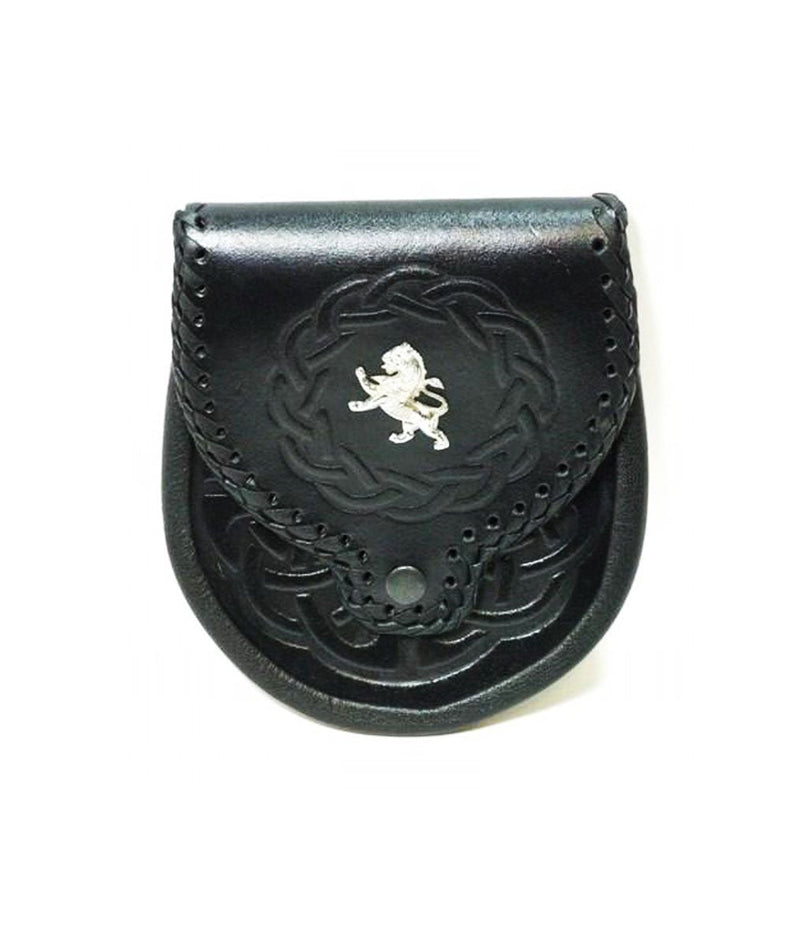 Black Leather Embossed Lion Motif Sporran