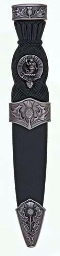 Clan Crest Thistle Sgian Dubh, Plain Top - Chrome/Antique Finish - Made to Order