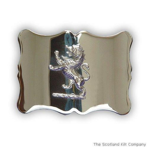Lion Rampant Scalloped Belt Buckle - Chrome Finish