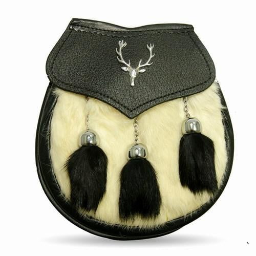 Semi Dress White/Black Rabbit Fur Stag Crest Sporran