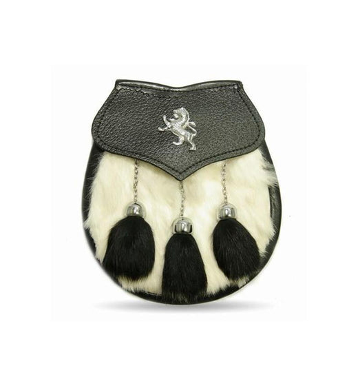 Semi Dress White/Black Rabbit Fur Lion Crest Sporran