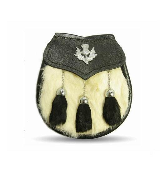 Semi Dress White/Black Rabbit Fur Thistle Crest Sporran