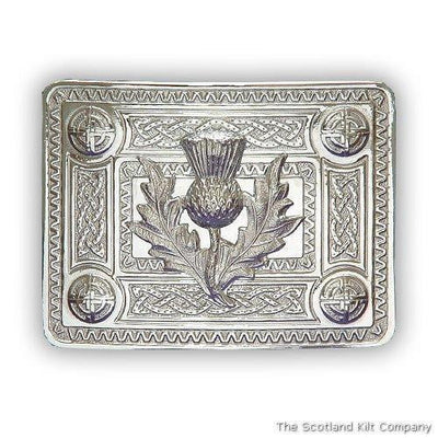 Thistle Celtic Knot Belt Buckle - Chrome Finish