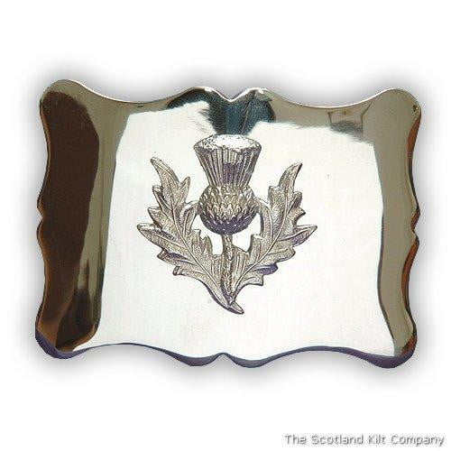 Thistle Scalloped Belt Buckle - Chrome Finish