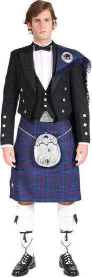 Luxury Fly Plaid Prince Charlie Jacket Outfit with 8 Yard 16oz Lochcarron Strome Kilt