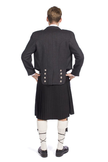 Charcoal Tweed Prince Charlie Jacket - Made to Order