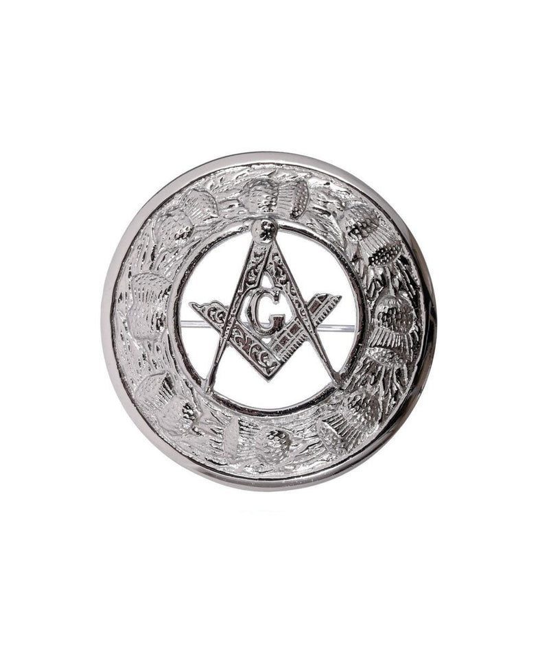 Thistle Design and Masonic Centre Brooch - Chrome Finish