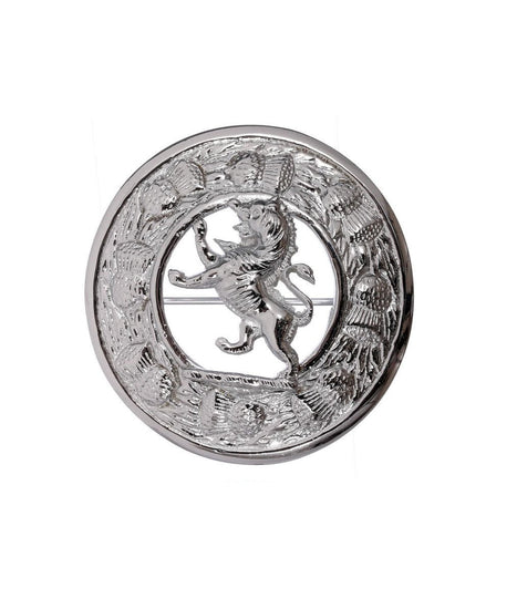 Thistle Design and Lion Centre Brooch - Chrome Finish
