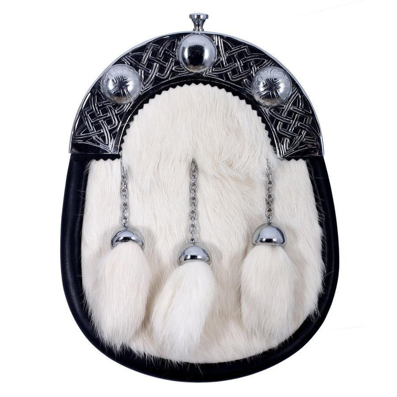 Full Dress Chrome Knot and Weave Cantle Sporran - White Rabbit Fur