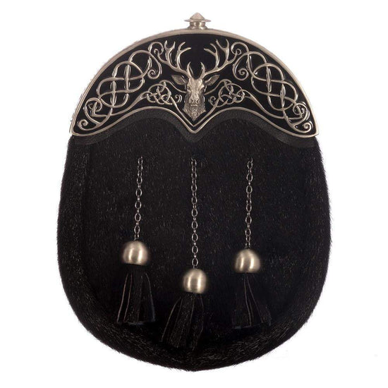 Full Dress Sporran - Matt Finish Cantle Black Enamel Stag Design - Black Seal Skin