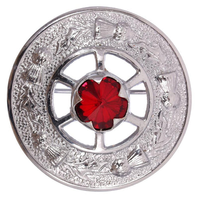 Miniature Thistle Design and Red Stone Brooch - Chrome Finish