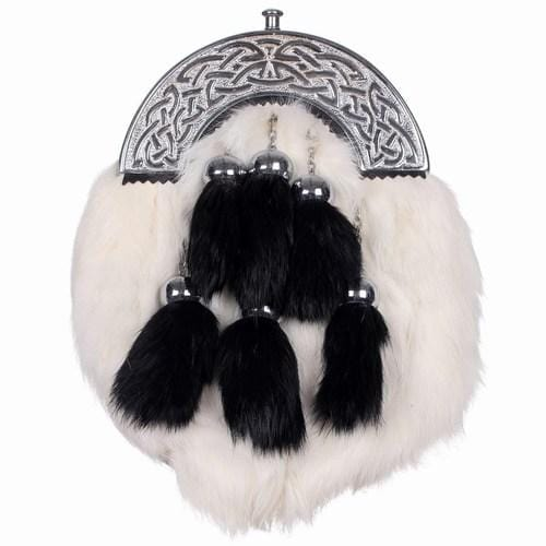 Chrome Celtic Cantle White Rabbit Sporran with 6 Black Fur Tassels