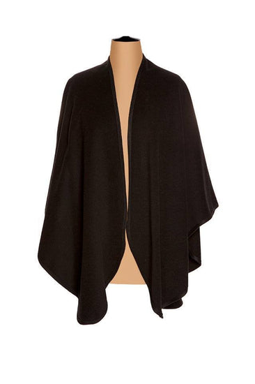 Ladies Plain Cashmere Cape in Black