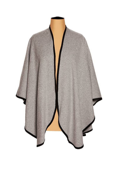 Ladies Plain Cashmere Cape in Light Grey with Black Trim