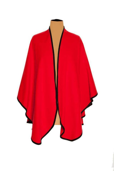 Ladies Plain Cashmere Cape in Red with Black Trim