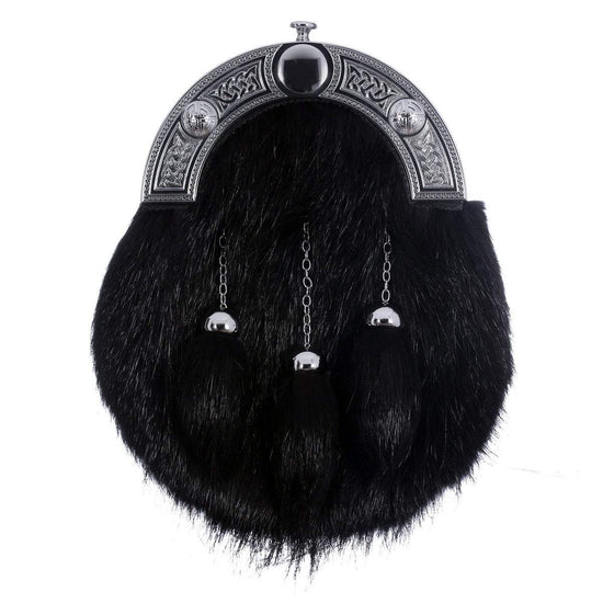 Full Dress Sporran - Chrome Celtic Knot Black Nutria Fur