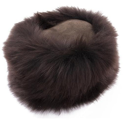 Ladies Sheepskin Cossack-Style Hat in Brown