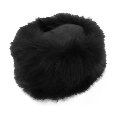 Ladies Sheepskin Cossack-Style Hat in Black
