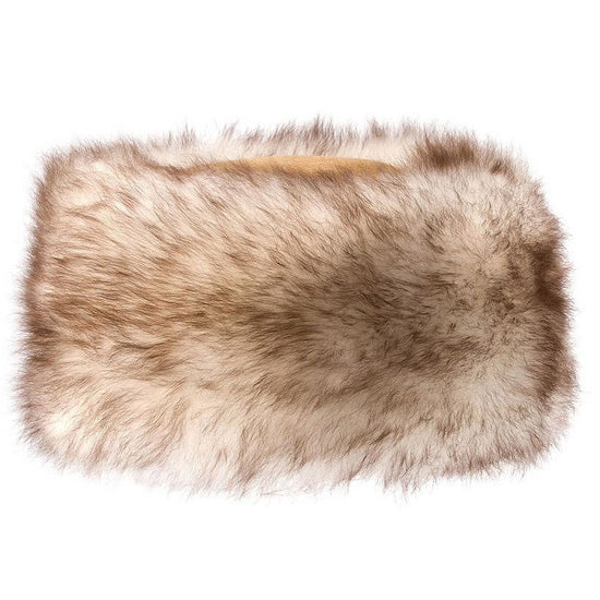 Ladies Sheepskin Cossack-Style Hat in Brown with Natural Tips