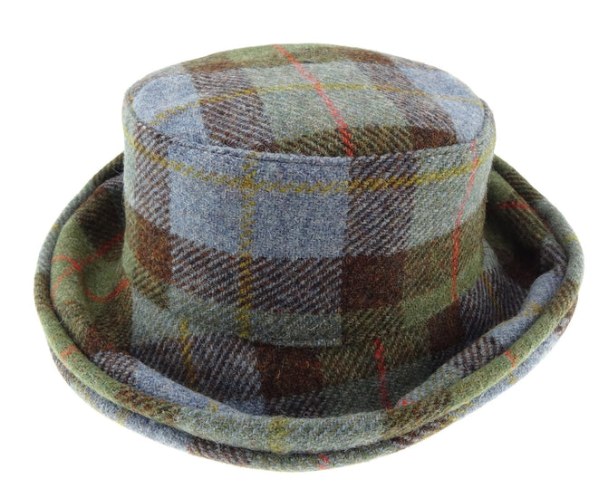 Harris Tweed Cloche Hat - Blue/Green Check