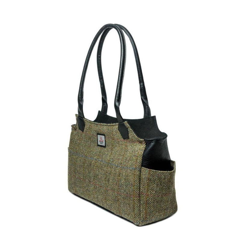 Authentic Scottish Harris Tweed - Day Bag - Country Green