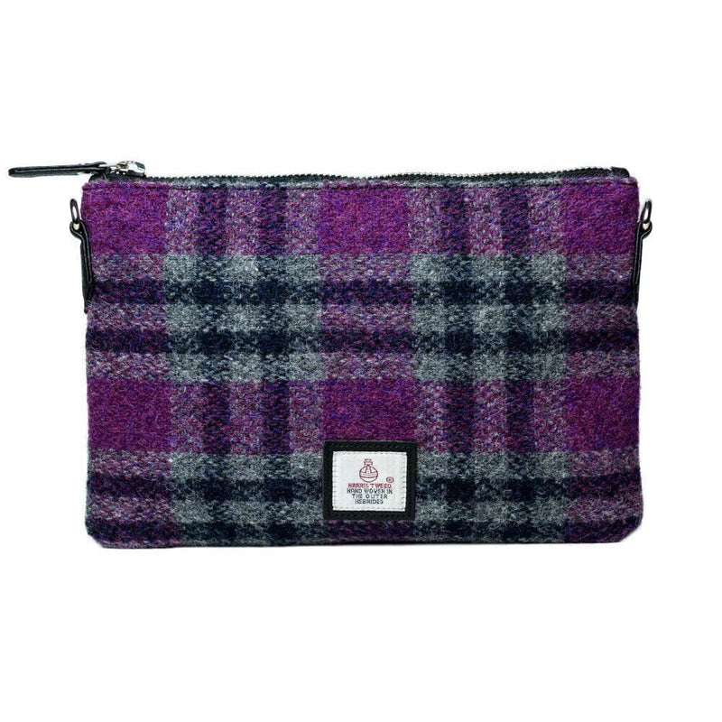 Authentic Scottish Harris Tweed - Shoulder Bag - Pink Check