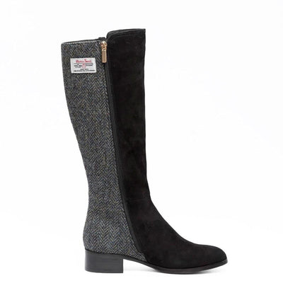 Ladies Harris Tweed Knee High Boots by Snow Paw - Black