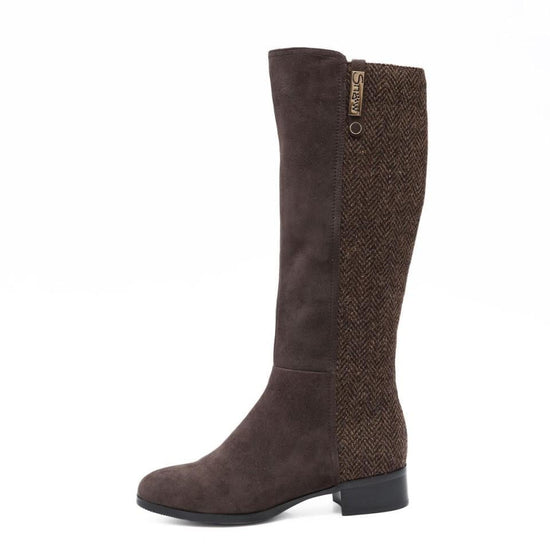 Ladies Harris Tweed Knee High Boots by Snow Paw - Coffee Brown